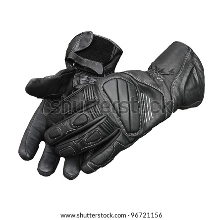 Motorcycle gloves isolated with clipping patch included - stock photo