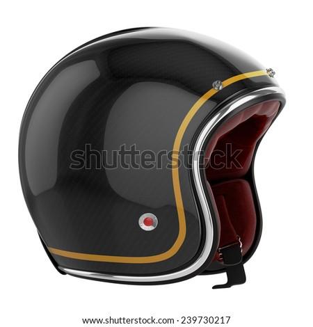 Motorcycle helmet black. Motorcycle helmet carbon. Helmet classic style. - stock photo