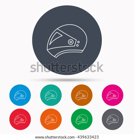 Motorcycle helmet icon. Biking sport sign. Icons in colour circle buttons.  - stock photo