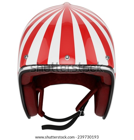 Motorcycle helmet red white striped. Helmet classic style. Helmet top view. - stock photo