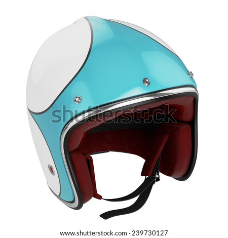Motorcycle helmet turquoise white. Motorcycle helmet old fashioned. - stock photo