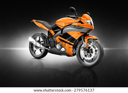 Motorcycle Motorbike Bike Riding Rider Contemporary Orange Concept - stock photo