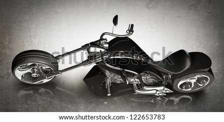 motorcycle (No trademark. it is design and the 3d model completely exclusive. my development) High resolution 3D - stock photo