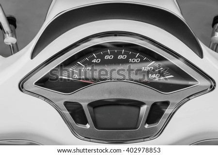 Motorcycle parts, close up of a motorcycle speedometer - stock photo