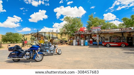 MOTORCYCLE REST STOP-AUGUST 2015; Route 66 Hackenberry General Store - stock photo