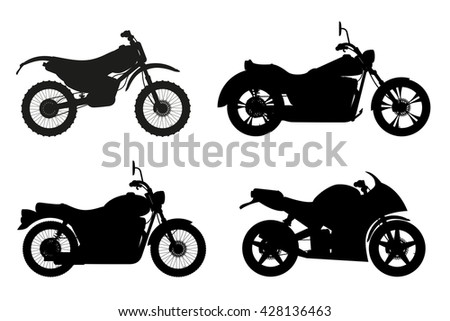 motorcycle set icons black outline silhouette illustration isolated on white background - stock photo