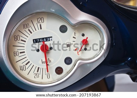 Motorcycle speedometer bord close up - stock photo