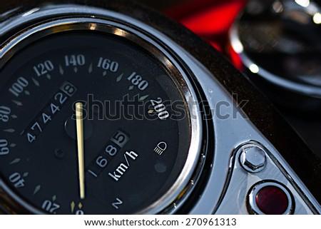 Motorcycle speedometer closeup view - stock photo