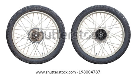 motorcycle Wheels isolated on white background - stock photo