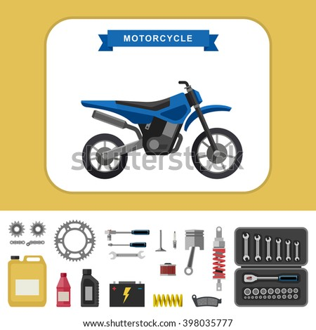 Motorcycle with parts in flat style. Simple illustration of motocross bike with moto parts and tools icons. Raster version. - stock photo