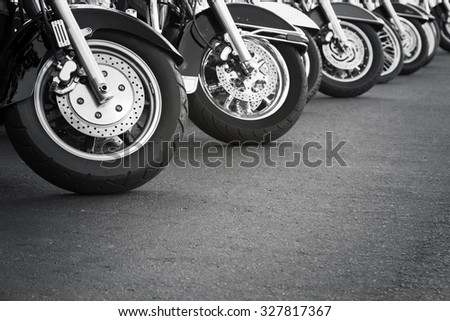 Motorcycles in a row - stock photo