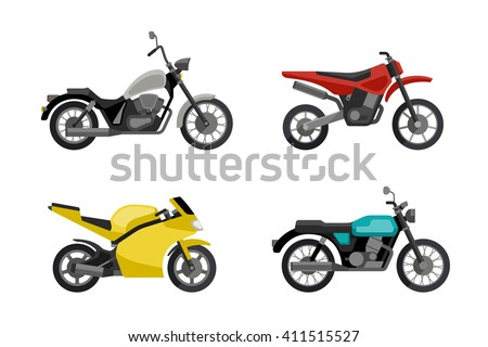 Motorcycles in flat style. Illustrations of different type motorcycles. Raster version. - stock photo