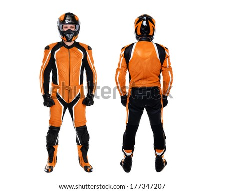 motorcyclist both sides view on white background - stock photo