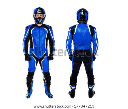 motorcyclist in blue both sides view on white background - stock photo