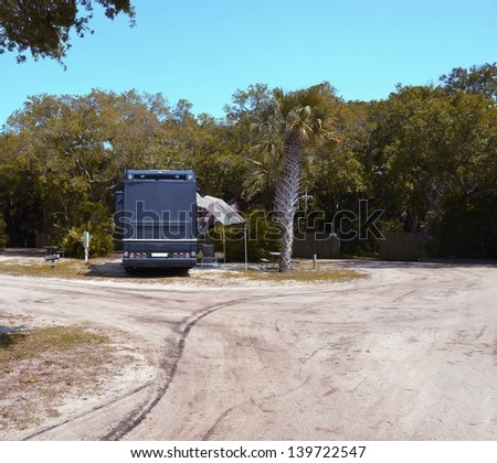 Motorhome at a campsite St. Augustine, Florida, USA. - stock photo