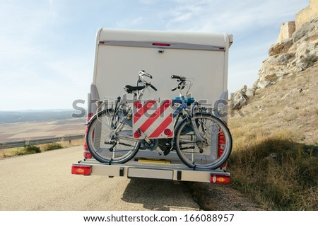 Motorhome bikes in Soria, Spain - stock photo