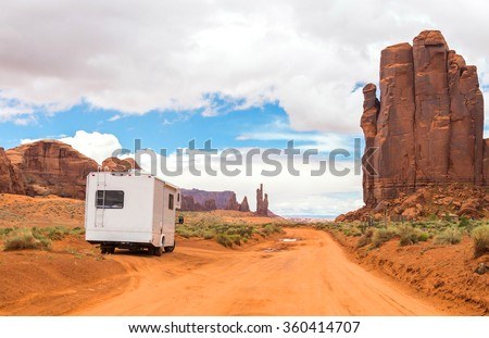 Motorhome on the road in Monument Valley, Utah, USA - stock photo