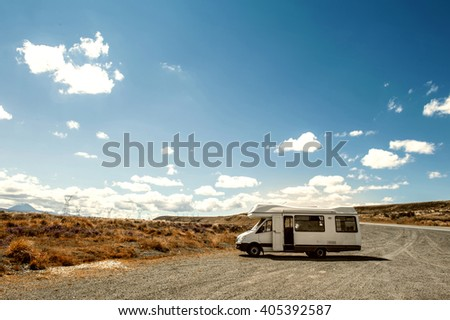 Motorhome or campervan parking by the roadside in North Island of New Zealand - stock photo