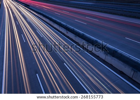Motorway at night in Hungary - stock photo