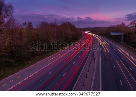 Motorway lights - stock photo