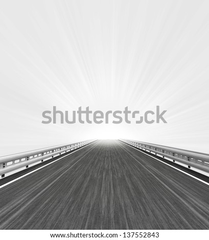 motorway straight view with white horizon flare illustration - stock photo