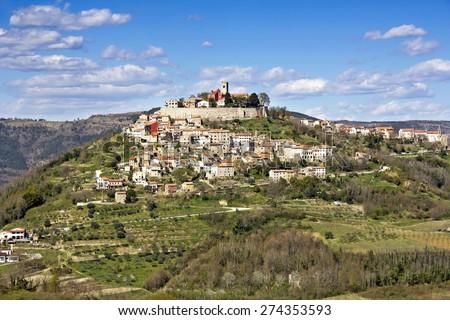 Motovun, a small picturesque medieval town in Istria, Croatia - stock photo