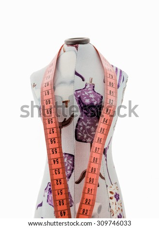 Mottled dummy clothing with measuring tape front view isolated on white background - stock photo