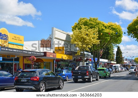 Motueka, New Zealand - December 30, 2015: The colorful Town of Motueka in Tasman Bay, New Zealand is bustling with shoppers; tourists  and holiday makers in mid summer. - stock photo