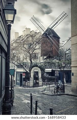 Moulin de la Galette in Montmartre (Paris, France) - stock photo