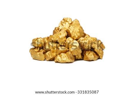 mound of gold close-up isolated on white background - stock photo