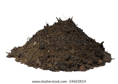 mound of soil isolated with clipping path - stock photo