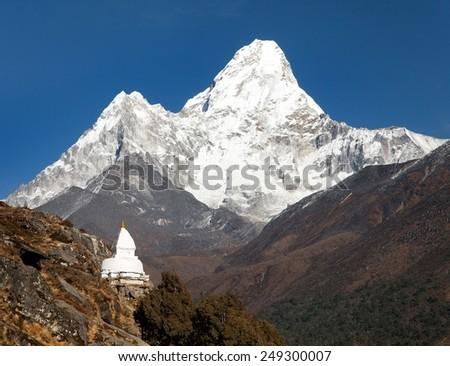 Mount Ama Dablam with stupa near Pangboche village - way to mount Everest base camp - Khumbu valley - Nepal - stock photo