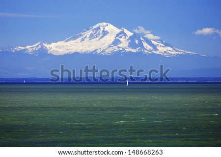 Mount Baker seen from the Gulf Islands in Canada - stock photo