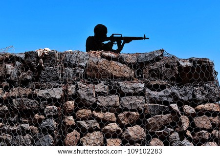Mount Bental in the Golan Heights, Israel. Concept photo of war ,military, army, armed forces, incursion,conflict ,firearm ,battle, attack.  - stock photo