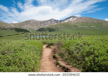 Mount Bierstadt and the Sawtooth in Summit County Colorado. - stock photo