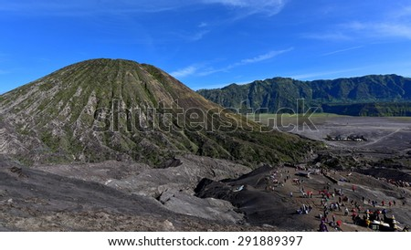 Mount Bromo, an active volcano in East Java, Indonesia - stock photo