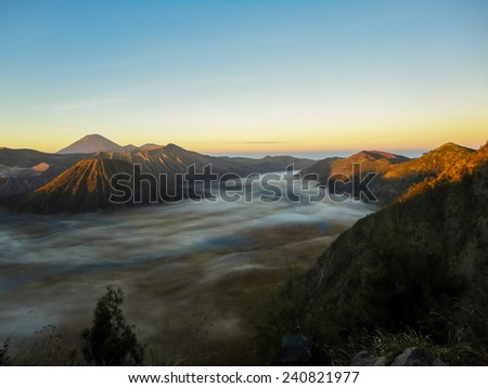 Mount Bromo at Java in Indonesia - stock photo