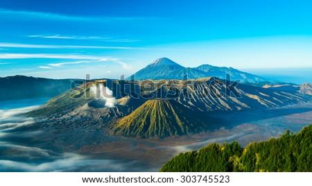 Mount Bromo volcano during sunrise, East Java, Indonesia. - stock photo
