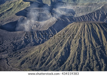 Mount Bromo volcano during sunrise, the magnificent view of Mt.  - stock photo