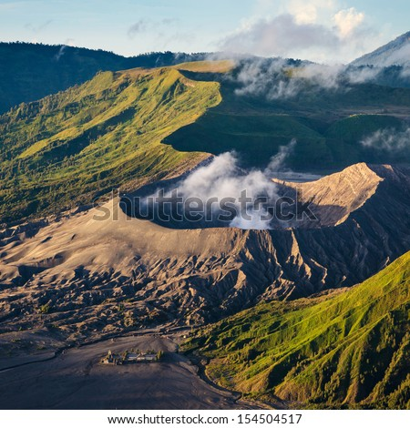 Mount Bromo volcanoes in Bromo Tengger Semeru National Park, East Java, Indonesia - stock photo
