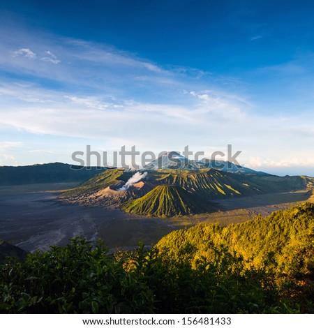 Mount Bromo volcanoes in Bromo Tengger Semeru National Park, East Java, Indonesia.  - stock photo