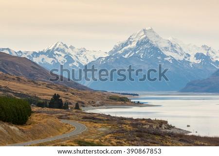 Mount Cook and Pukaki Lake, South Island, New Zealand - stock photo