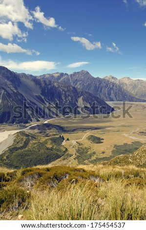 Mount Cook / Aoraki National Park, South Island, New Zealand - stock photo