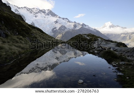 Mount Cook evening reflection in Aoraki National park, New Zealand. - stock photo