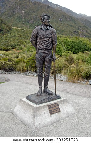 MOUNT COOK NEW ZEALAND - CIRCA February 2005. Commemorative statue of Edmund Hillary of New Zealand, who in May 1953, along with Tenzing Norgay became the first climbers to summit Mount Everest. - stock photo