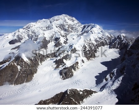 Mount Denali The Great One in Alaska is the highest mountain peak in North America. Formerly called Mt. McKinley its summit is 20 320 feet 6 194 m above sea level. Aug. 2008 photo by Carol Highsmith. - stock photo