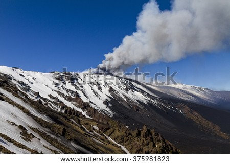 Mount Etna, plume of gas and volcanic ash moved by the wind - stock photo