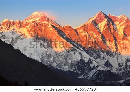 Mount Everest at sunset - stock photo