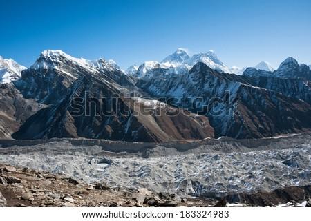 Mount Everest, Lhotse and Ngozumpa Glacier, Himalaya, Nepal - stock photo
