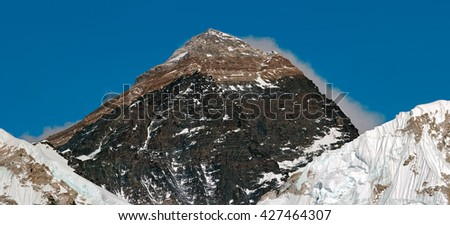 Mount Everest (8848 m) in the evening. View from Kala Patthar - Nepal, Himalayas - stock photo